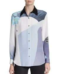 3.1 Phillip Lim Mixed Print Silk-Crepe Blouse - Lyst