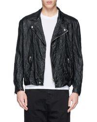 McQ by Alexander McQueen Crinkle Leather Biker Jacket - Lyst