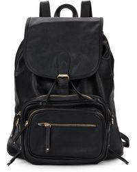Saks Fifth Avenue Faux Leather Backpack & Crossbody Set - Black