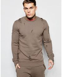 Criminal Damage Distressed Sweatshirt - Natural