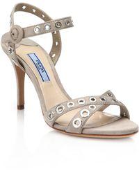 Prada | Grommeted Strappy Suede Sandals | Lyst