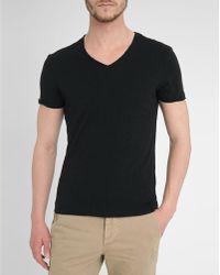 Harris Wilson Black V-Neck Rolled Hem Cotton-Jersey T-Shirt - Lyst