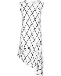 Balenciaga Graphic Net Frill Crepe Dress - Lyst