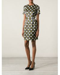 Jonathan Saunders Checkered Floral Print Dress - Lyst