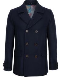 Ted Baker T For Tall Mackrul Double Breasted Peacoat - Blue