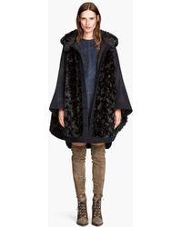H&M Wide Fake Fur Coat - Lyst