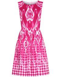 Oscar de la Renta Ikat And Gingham-Print Dress - Lyst