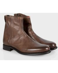 Paul Smith Dip-Dyed Brown Leather Claude Boots With Rubber Soles brown - Lyst