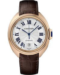 Cartier Clé De 40Mm 18Ct Rose-Gold And Leather Watch - For Men red - Lyst