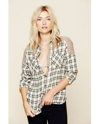 Free People Catch Up with Me Plaid Top - Lyst