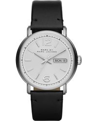 Marc By Marc Jacobs | Mens Fergus Stainless Steel Watch With Leather Strap | Lyst