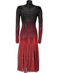 Roberto Cavalli Knit Turtleneck Dress in Blackred - Lyst