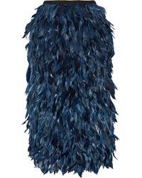 Erdem Skyla Feather-Trimmed Satin And Cady Midi Skirt - Lyst