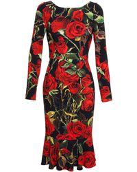 Dolce & Gabbana Crepe Dress With Rose Print - Lyst