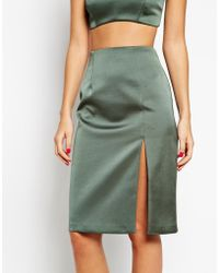 Asos Exclusive Co-Ord Pencil Skirt In Bonded Satin - Lyst