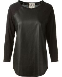 Sea Black Cotton and Leather T-shirt - Lyst
