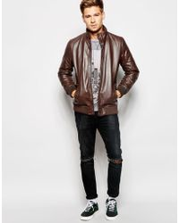 Pepe Jeans Shoreditch Leather Jacket - Brown