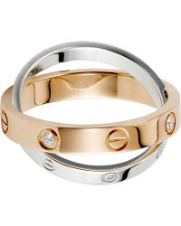 Cartier Love 18Ct Pink-Gold, White-Gold And Diamond Ring - Lyst