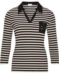 Cc | Lace Collar Stripe Jersey Top | Lyst
