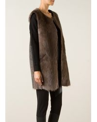 Isabel Marant Adrien Taupe Fur Wool and Mohair Cardigan - Lyst