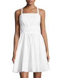 Halston Heritage Sleeveless Crisscross-Tie Dress white - Lyst