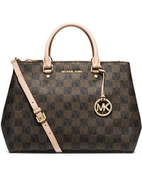 Michael Kors Sutton Logo Checkerboard Large Satchel - Lyst