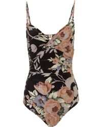 Zimmermann Rococo Floral Keeper Swimsuit - Lyst