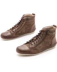 John Varvatos Redding Zip High Top Sneakers - Lyst
