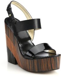 Jimmy Choo Notion Wooden-Heeled Leather Sandals black - Lyst