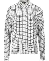 Topshop Petite Window Check Print Curve Hem Shirt   - Lyst