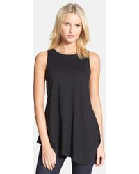 Eileen Fisher Round Neck Asymmetrical Shell - Lyst