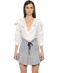 Just Cavalli - Flax Linen & Cotton Lace Top - Lyst