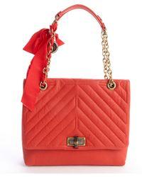 Lanvin Poppy Orange Quilted Leather Medium 'Happy' Chainlink Shoulder Bag - Lyst