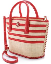 Tory Burch Canvas Leather-Trim Beach Tote Bag beige - Lyst
