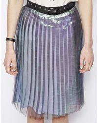 Antipodium Hot Knife Pleated Skirt in Metallic - Blue