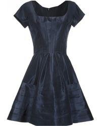 Zac Posen | Short Sleeve Silk Scoopneck Party Dress | Lyst