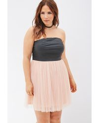 Forever 21 Faux Leather & Tulle Combo Dress - Lyst