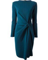 Lanvin Blue Gathered Dress - Lyst