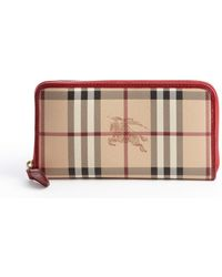 Burberry Beige and Military Red Nova Check Coated Canvas Zip Continental Wallet - Lyst
