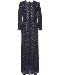 Katie Ermilio Long Sleeve Wool Lace Gown blue - Lyst
