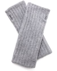 White + Warren White  Warren Cashmere Rib Hand Warmers - Nickel Grey - Lyst