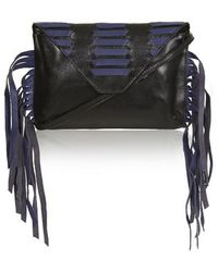 Topshop Woven Tassel Leather Clutch - Lyst