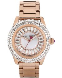 Betsey Johnson Ladies Rose Gold Tone Watch with Crystal Baguette Dial - Lyst