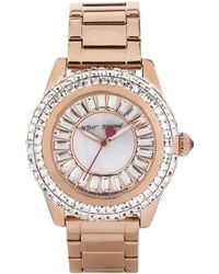 Betsey Johnson Ladies Rose Gold Tone Watch With Crystal Baguette Dial - Pink