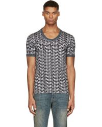 Dolce & Gabbana Black And Grey Dogs Print Scoop_Neck T_Shirt - Lyst