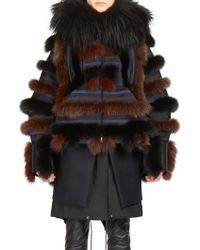 Sacai Hooded Patchwork Fox Fur Coat - Blue