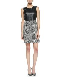 Milly Sleeveless Zebraprint Leathertop Dress Blackwhite 0 - Lyst