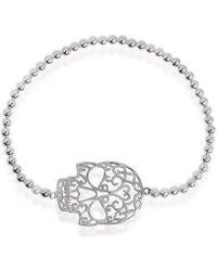 Aeravida - Tattoo Open Swirl Skull Charm Sterling Silver Elastic Beads Bracelet - Lyst