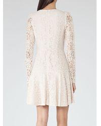 Reiss Rosalin Lace Frill Dress - Natural