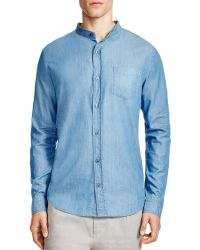 Vince   Melrose Chambray Banded Collar Slim Fit Button Down Shirt   Lyst